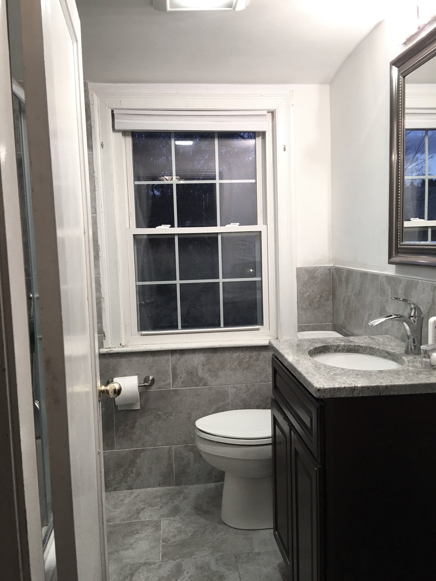 Beautiful Variety Of Grey Shades In Belmont, MA Bathroom, Double Niches  With Glass Tile Accents, Larger Tile Are Taking Eyes Out Off Narrow Room.